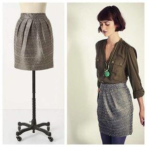Anthropologie Avant Tweed Metallic Skirt